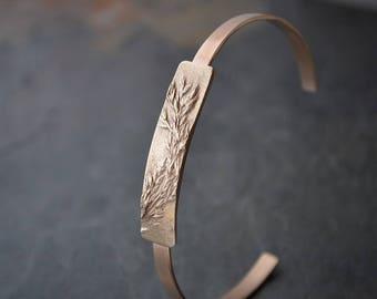 Bronze Cuff Bracelet, Botanical Bracelet, Plant Bracelet, Prairie Grass Cuff Bracelet, Nature Cuff, 8th and 19th Wedding Anniversary Gift