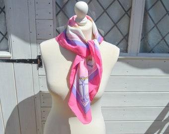 Vintage Silk Scarf, Pink Silk Scarf, Silk Head Scarf, Pink Neck Scarf, Summer Scarf, Vintage Gift, 80s Fashion, Nautical Scarf,