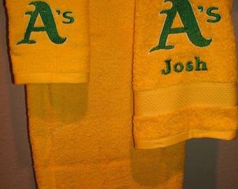 Athletics A's Personalized 3 piece Bath towel, hand towel & Washcloth Set Baseball ANY TEAM