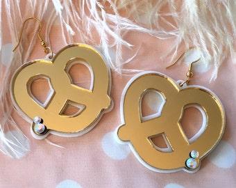Mirrored Pretzel Earrings, Laser Cut Acrylic, Plastic Jewelry