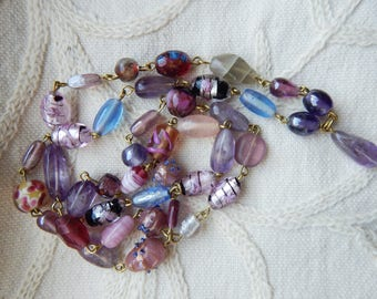 Amethyst, Fluorite and Lampwork Glass Pretty Pastels Vintage Style Wire Link Necklace