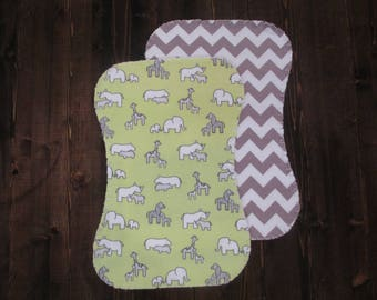 Set of 2, Flannel Ragged Edge Burp Cloth, Contoured, Gender Neutral, Green and Gray, Baby Shower Gift