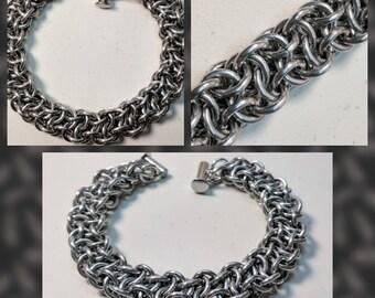 Vipera Berus Bright Silver Aluminum Chainmaille Bracelet