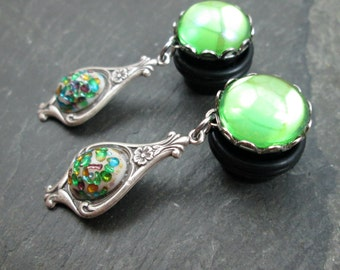 "Victorian Dangle Plugs - 1/2"" 12mm - Green Gem Plugs - No Flare Wedding Gauges - Dangle Gauges - Plug Earrings"