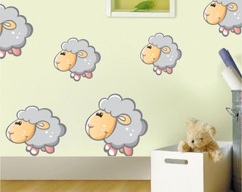 Nursery and kids Sheep Bedroom Wall Decal Sticker Bedroom Sheep Wall Murals Sheep Wall Decor Peel and Stick Wall Art Sheep Murals d26