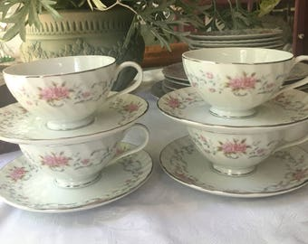 The Lovely China Company Set of 4 Teacups and Saucers in rhe Anne Pattern