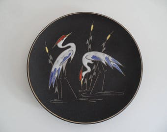 Ruscha german rare and large wall plate, Ruscha, handmade in Germany,handpainted ceramic wall plate