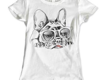 Girls Womans Dog Pug Celeb Girly Princess Tumblr Fairies Bulldog Glam 3 T Shirt