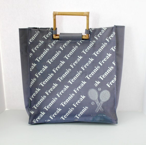 1978 Vintage Tennis Freak Tote Bag by Holiday Fair, Canvas with Wood Handles