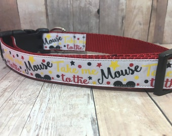 "Take Me To The Mouse | 1"" Mickey Mouse Dog Collar 