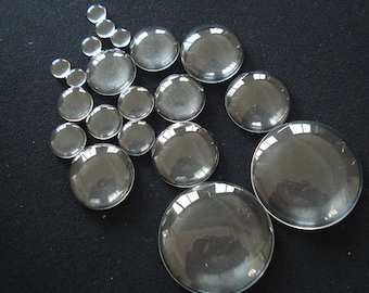 """6-62mm Clear Round Flatback Magnifiying Glass Dome Blank Bottle Cap Seal Cover Cabochon Cameo Tile Small 1/4"""" Large 1"""" 2"""" Jewelry Making DIY"""