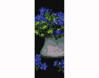 "Peyote ""Flowers in Vase #5""  Bead Pattern, Bracelet Cuff, Bookmark, Seed Beading Pattern Miyuki Delica Size 11 Beads - PDF Instant Download"