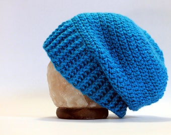 Hand Crocheted Slouch Beanie - Blue