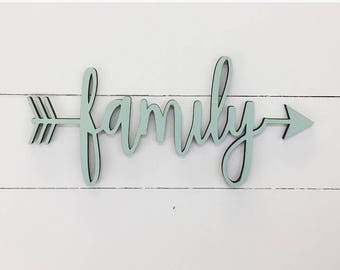 Family Wood Arrow Sign, Laser Cut Wood Sign, Custom Arrow Cut Wood Sign, Wood Art, Wooden Sign, Farmhouse Wood Sign