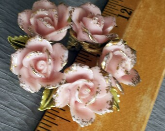 Vintage Coro Pink And Gold Roses Wreath Circle Pin Flower and Leaf Brooch Mid Century Floral Brooch Rose Bouquet Bride