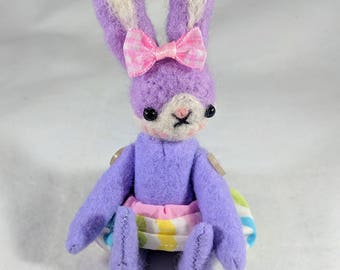 Lavender or pink plush bunny rabbit with moveable arms and legs Easter doll
