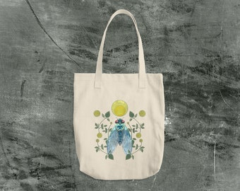 Cicada and Moon Canvas Tote Bag Made in the USA