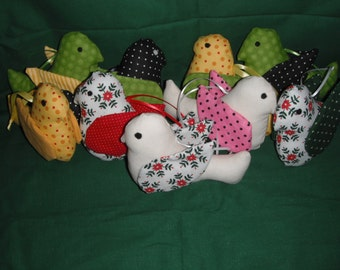 Fabric Bird Ornament / Window Hanger /  Christmas Ornaments
