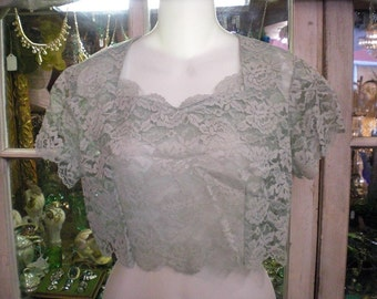 Vintage Green Lace Blouse