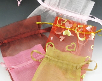 Pink and Gold Organza Bags for Jewelry, set of 5, hearts, drawstring bag, organza jewelry bags, fabric bags, valentines bags,  shop supplies