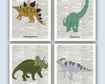Dino Art, Dinosaurs Print,  Kids Room Decor, Dinosaur, Dino, Paleontology, 4 Educational Posters, Nursery decor, Diplodocus, Tuojiangosaurio