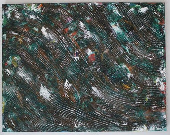 Abstract Painting Over A Palette Knife Painting