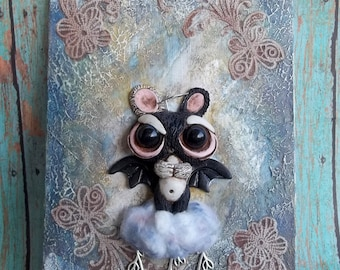 Heavenly Rain Bunny polymer clay sculpture, mixed media art panel ,5x7,OOAK,signed art,Bat winged bunny,Covington Creations,seeding clouds