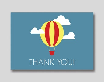 INSTANT DOWNLOAD Hot Air Balloon Thank You Card -  DIY Printable