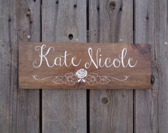 Baby name plaque etsy nursery name sign rustic wood sign baby girl personalized baby gift name negle Choice Image