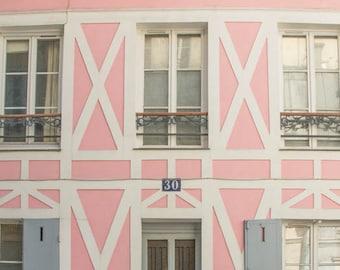Paris Photography, Paris Print, Paris Decor, Pink house on romantic Rue Cremiuex