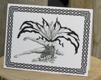 """Fairy Card, Fairy Greeting Card, Art Card, 5""""x6.5"""" Card, Faerie Card, Fairy Art, Fairy Drawing, Fairies"""