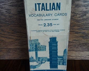Vis-Ed Vintage ITALIAN Vocabulary Cards, box of 1000 double sided cards