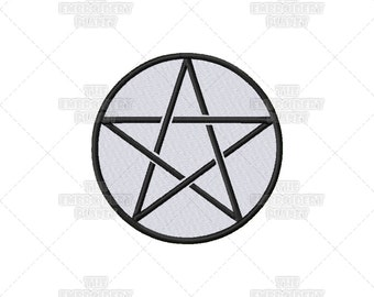 Pentacle, Wiccan, Pagan, Five Elements, Spiritual, Religious, Sacred Symbol, Machine Embroidery, Pattern, Design, pentagram, witch