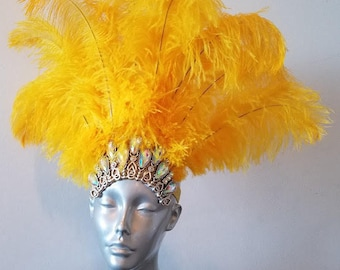 Choose Color  Carnival Headdress Headpiece Samba Ostrich Floss Feathers on a Crystal Crown Headdress Mardi Gras Parade Vegas Show Hora Loca
