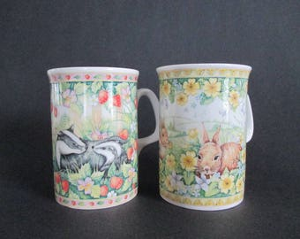 2 Mugs Royal Doulton Woodland Friends Bunnies Badgers Strawberries Nasturtiums Easter Gift