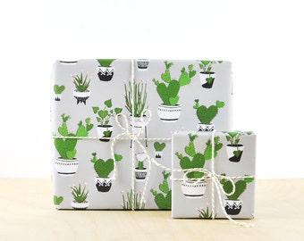 Cactus Gift Wrap Grey, gift wrap paper, designer wrapping paper, plant wrapping paper, nopal cactus, flowering cactus,Types of cactus plants