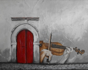 Painting violin - musician - painting violinist - Deco - Deco violin music - violinist & red door