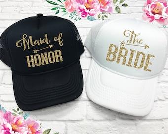Bride OR Maid of Honor Trucker Hat - Bridesmaid Hats - Bridesmaid Caps - Bachelorette Party Caps - Wedding Hats - Wedding Caps