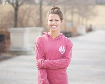 Monogram Comfort Colors Hooded Long Sleeve