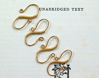4 gold hook clasps, handcrafted s-hook clasps featuring gold plated coiled wire, jewellery findings, more available.