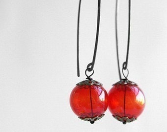 Red sphere glass dangle earrings, red lantern dangle oxidized sterling silver earrings, red glass bubble hand hammered wire