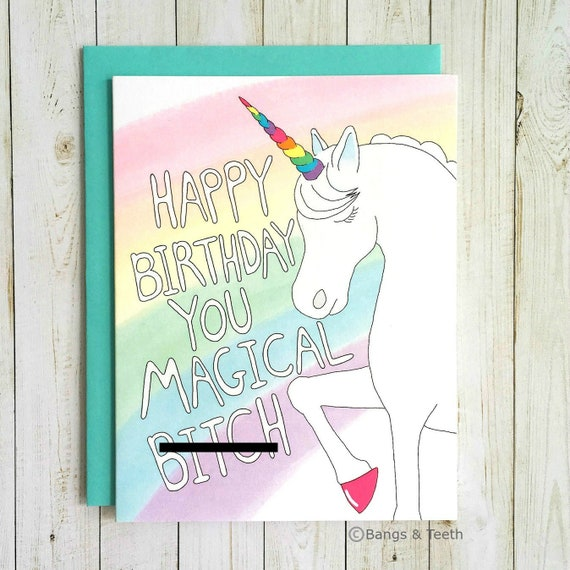 Funny Birthday Card Unicorn Birthday Card Birthday Card