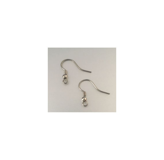 21-Gauge Stainless Steel Hypoallergenic Hook Earwires 20mm with a 3mm coil 1 pair