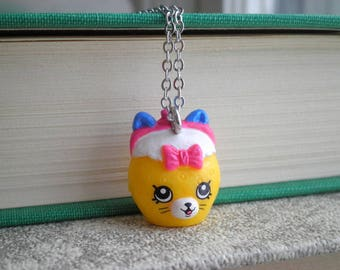 Shopkins Kitty Cat Purse Charm Necklace - Shopkins Kawaii Cat Face Coin Purse Long Chain Pendant - Tiny Wallet Purse Bag Jewelry Animal Gift