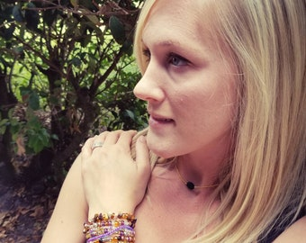 Stack Bracelets - *7 Bracelets Included!* - Beaded Stretch- Purple, Gold, Clear, Brown Glass & Stone Beads Stacked - 6.5 inches