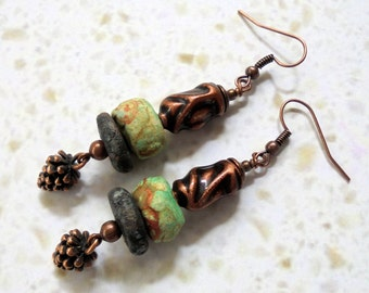 Mint Green, Black and Copper Pine Cone Rustic Boho Earrings (3395)