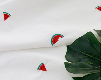 "EMBROIDERED fabric, Washed Raw Cotton 100%, Watermelon fruit Embroidery, by Half Yard, 148cm(58"") Width"