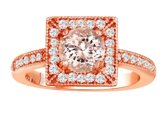 Morganite & Diamonds Engagement Ring 1.23 Carat 14K Rose Gold Halo  Handmade