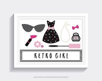 Retro Girl Print   Fashion Print   Vanity Print   Beauty Print   Chic Print   Digital Download   Digital Print   Makeup Print   Retro Print