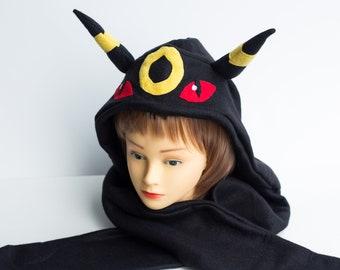 Umbreon Hat - LAST ONES! - Pokemon Hat - Pokemon Scoodie - Umbreon Scoodie - Umbreon Costume - Pokemon Costume - Pokemon Scarf - Umbreon Cos